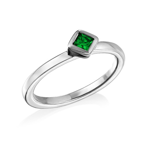 Sterling Silver Stackable Emerald Green Rhombus Ring
