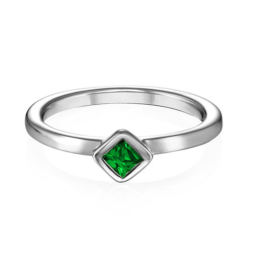 Sterling Silver Stackable Emerald Green Rhombus Ring - 1