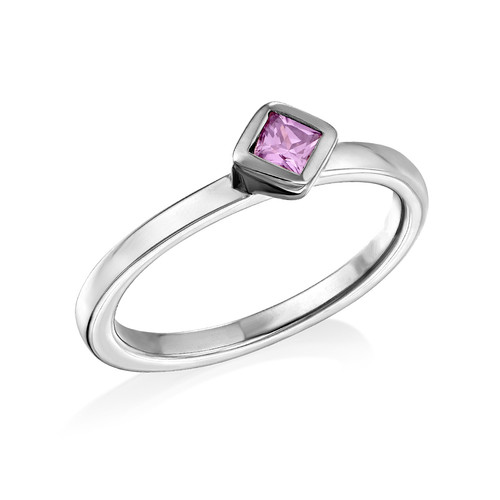Sterling Silver Stackable Misty Rose Rhombus Ring