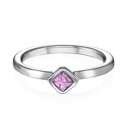 Sterling Silver Stackable Misty Rose Rhombus Ring - 1