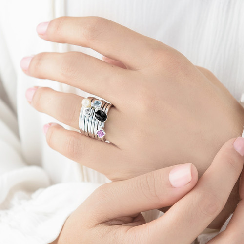 Sterling Silver Stackable Misty Rose Rhombus Ring - 3