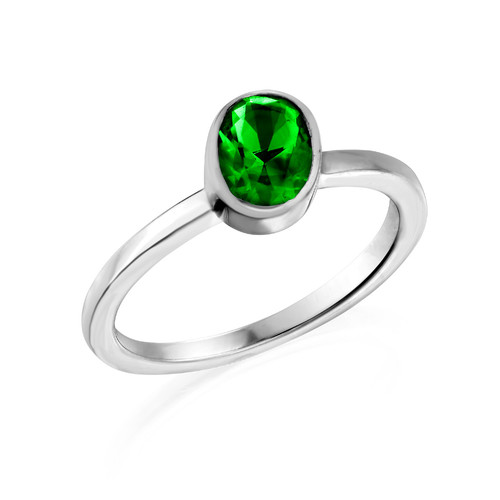 Sterling Silver Stackable Oval Emerald Ring