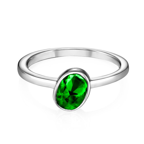 Sterling Silver Stackable Oval Emerald Ring - 1
