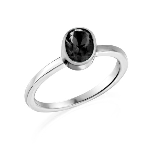 Sterling Silver Stackable Oval Shock Black Ring