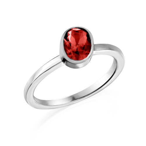 Sterling Silver Stackable Oval Velvet Red Ring