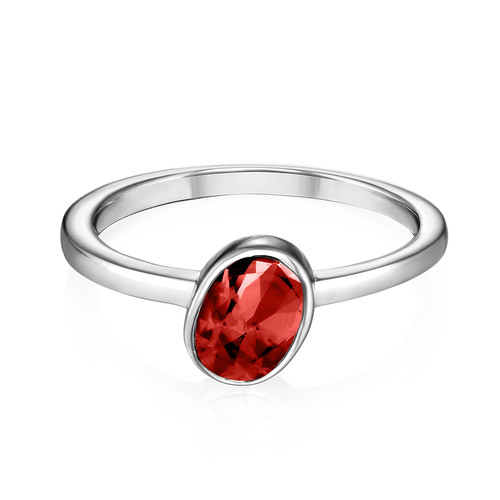 Sterling Silver Stackable Oval Velvet Red Ring - 1