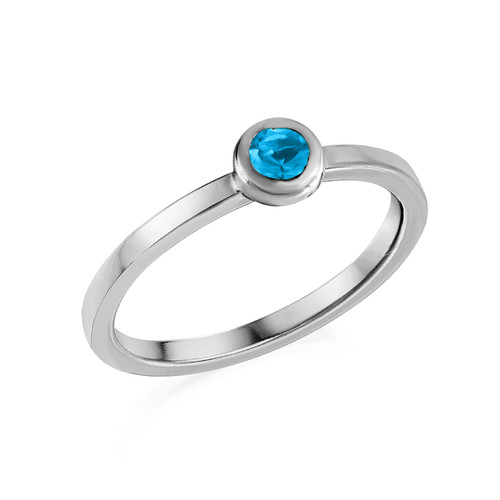 Sterling Silver Stackable Round Blue Lagoon Ring