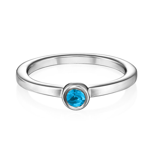 Sterling Silver Stackable Round Blue Lagoon Ring - 1
