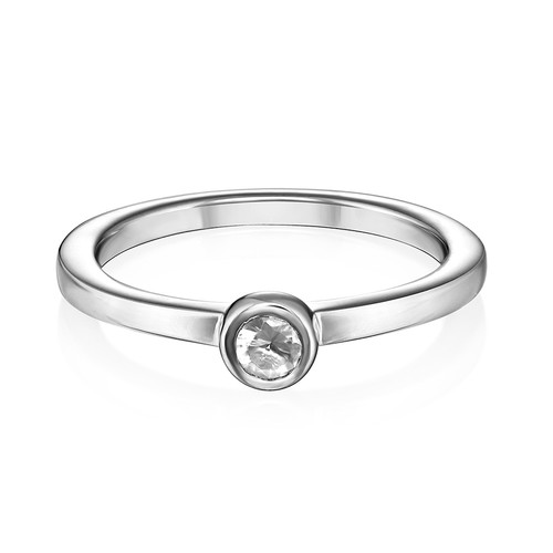 Sterling Silver Stackable Round Crystal Clear Ring - 1