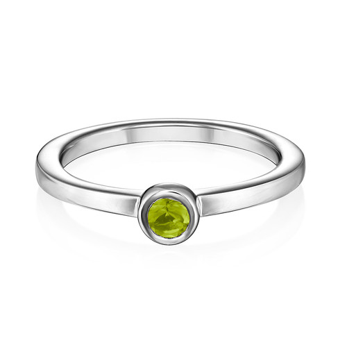 Sterling Silver Stackable Round Limelicious Green Ring - 1