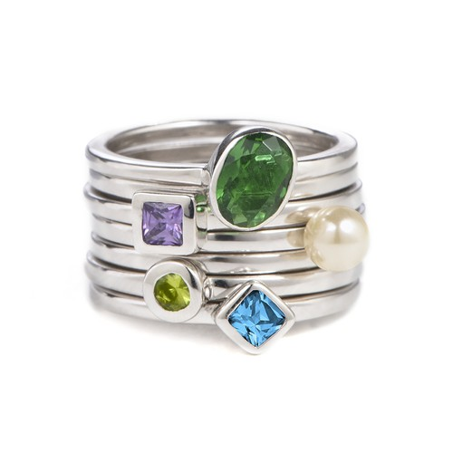Sterling Silver Stackable Round Limelicious Green Ring - 2