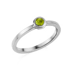 Sterling Silver Stackable Round Limelicious Green Ring