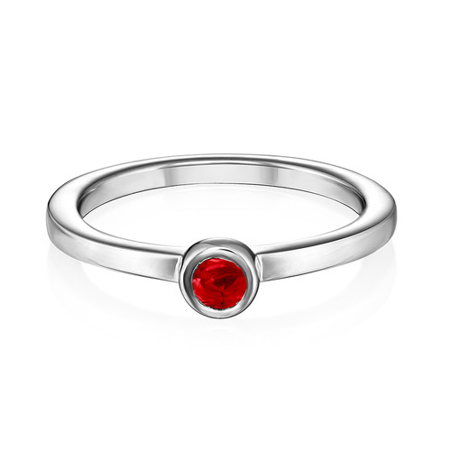 Sterling Silver Stackable Round Ruby Red Ring - 1
