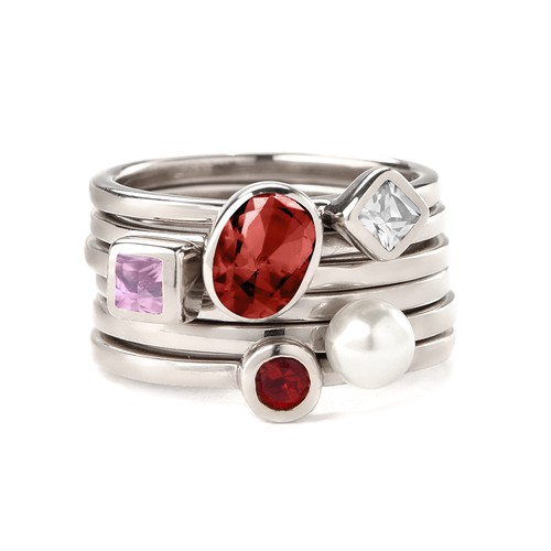 Sterling Silver Stackable Round Ruby Red Ring - 2