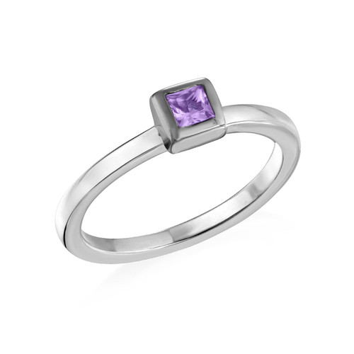 Sterling Silver Stackable Square Lavender Scents Ring