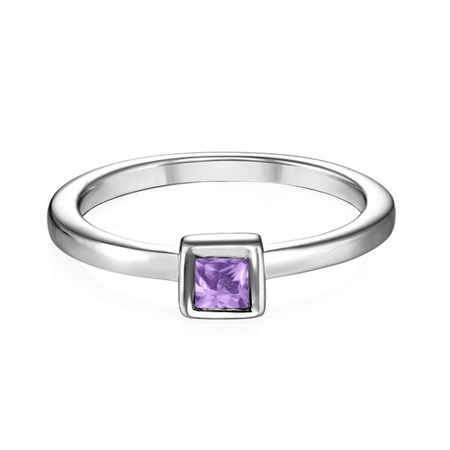 Sterling Silver Stackable Square Lavender Scents Ring - 1