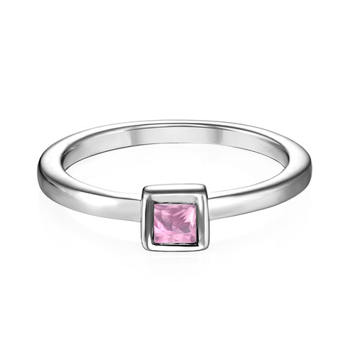 Sterling Silver Stackable Square Misty Rose Ring - 1