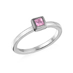 Sterling Silver Stackable Square Misty Rose Ring