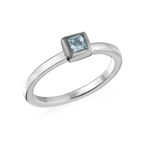 Sterling Silver Stackable Square Sky Blue Ring