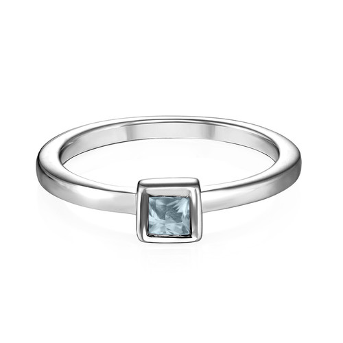 Sterling Silver Stackable Square Sky Blue Ring - 1