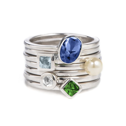Sterling Silver Stackable Square Sky Blue Ring - 2