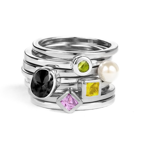 Sterling Silver Stackable Square Sunshine Yellow Ring - 2