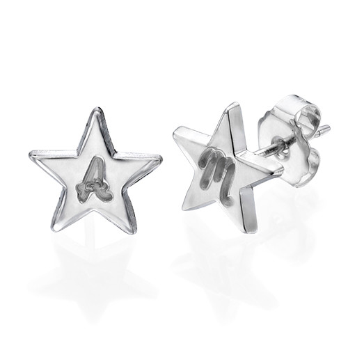 Sterling Silver Star Earrings with Initial