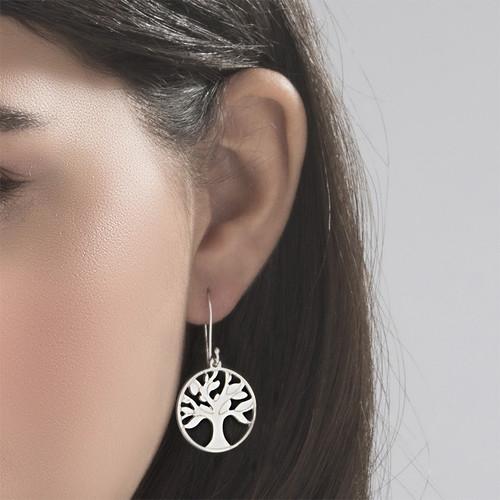Sterling Silver Tree of Life Earrings - 1