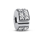 Stopper Silver Bead with Cubic Zirconia