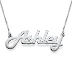 Retro Stylish Silver Name Necklace