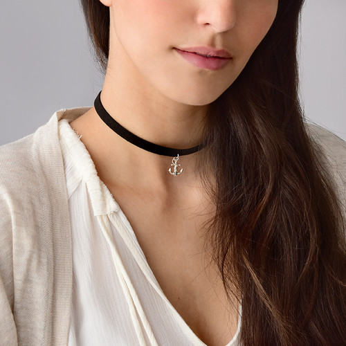Suede Choker with Anchor Charm - 2