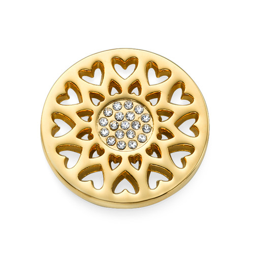 Sunflower Heart Coin in Gold Plating
