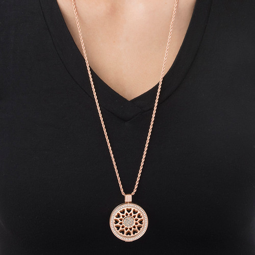 Sunflower Heart Coin in Rose Gold Plating - 1
