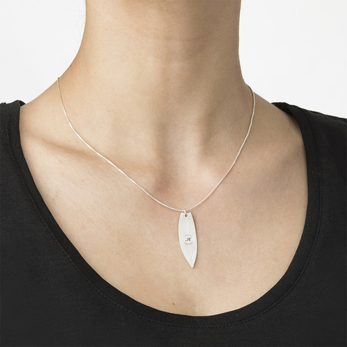 Surfboard Necklace with Initial - 2