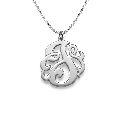 Swirly Initial Necklace in Sterling Silver