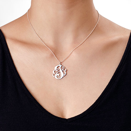 Swirly Initial Necklace in Sterling Silver - 1