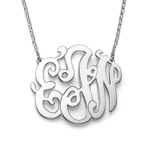 Swirly Monogrammed Pendant in Sterling Silver - 1