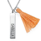 Tassel Necklace with Engraved Vertical Bar