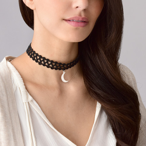 Tattoo Choker Necklace with Moon Charm - 2
