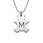Teddy Bear Necklace with Initial in Silver