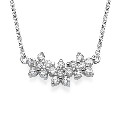 Three Flower Necklace with Cubic Zirconia
