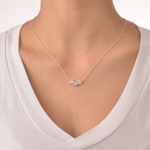 Three Flower Necklace with Cubic Zirconia - 1