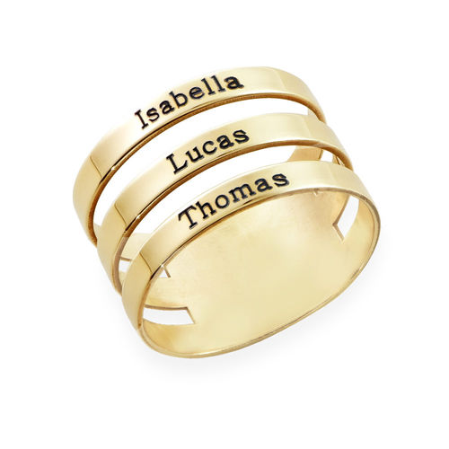 Three Name Ring in 10K Yellow Gold
