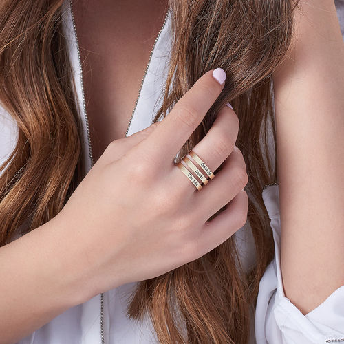 Three Name Ring in 10K Yellow Gold - 3