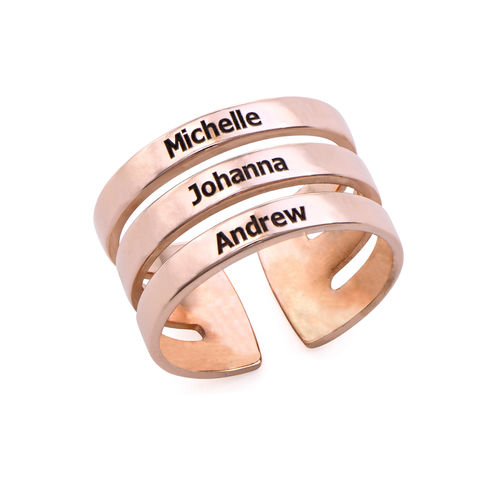 Three Names Ring in Rose Gold Plating
