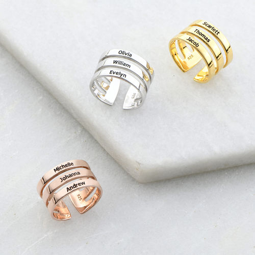 Three Names Ring in Rose Gold Plating - 2