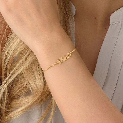 Tiny 18k Gold-Plated Carrie Personalized Bracelet - 2