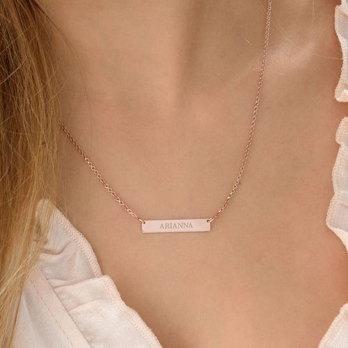 9df3ba645 Tiny 18k Plated Rose Gold Bar Necklace with Engraving | My Name Necklace