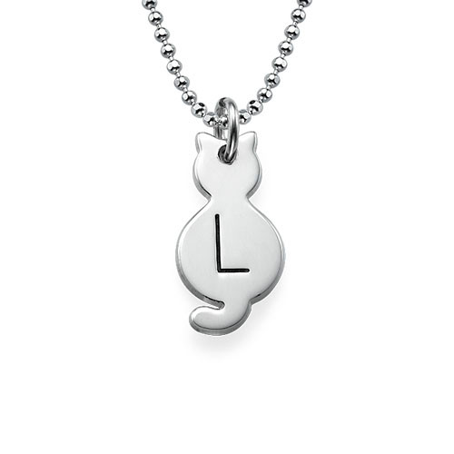 Tiny Cat Necklace with Initial in Sterling Silver