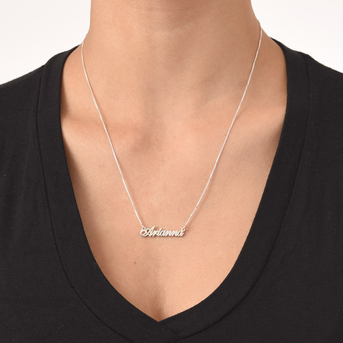 Tiny Classic Name Necklace In Extra Strength Silver - 2